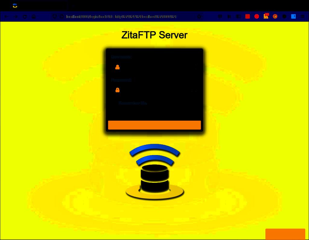 Web Administration Login - ZitaFTP Server
